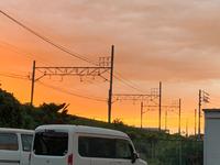 暑かった今日、綺麗な夕焼け空
